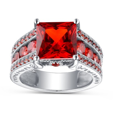 Ruby Princess Cut 925 Sterling Silver Engagement Rings