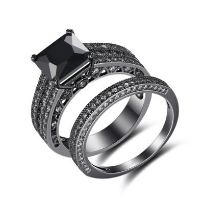 Black 925 Sterling Silver Princess Cut Black Bridal Sets