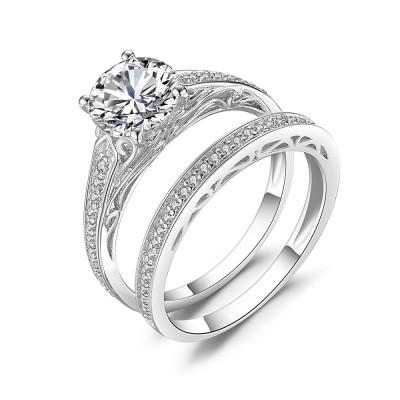Round Cut Gemstone 925 Sterling Silver Bridal Sets