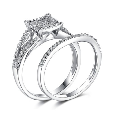 Gorgeous White Sapphire Sterling Silver Bridal Sets