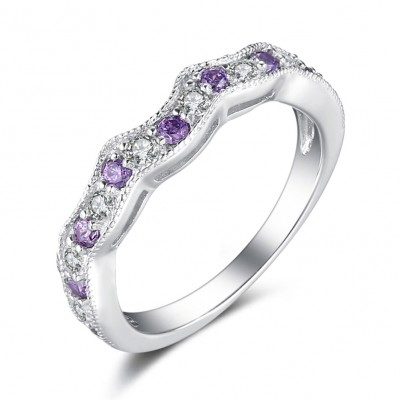 Round Cut White Shire And Amethyst Sterling Silver Wedding Bands