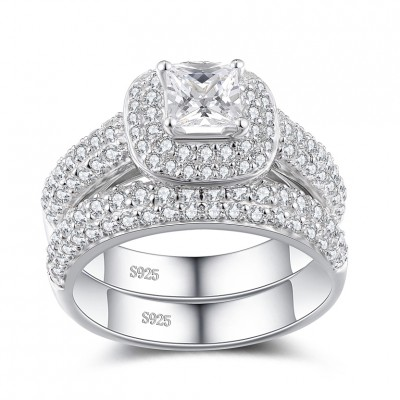 Princess Cut White Sapphire Sterling Silver Women s Bridal Set Ring ... d03ff21a18