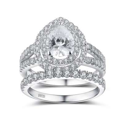Pear Cut White Sapphire 925 Sterling Silver Women's Ring Bridal Set