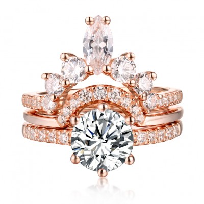 Rose Gold 3 Piece Ring Sets Lajerrio Jewelry