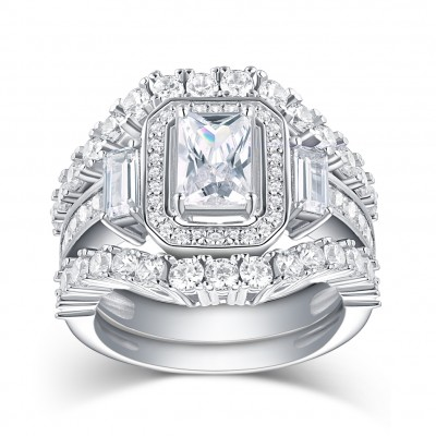 Emerald Cut White Sapphire 925 Sterling Silver 3-Piece Ring Sets