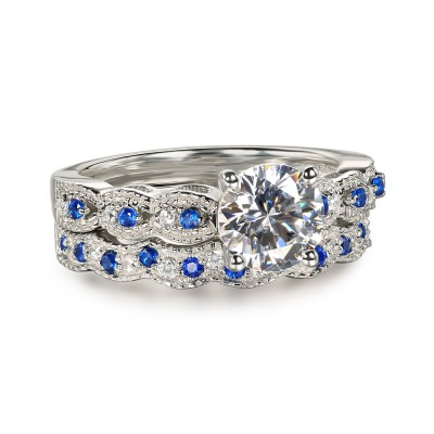 Round Cut Blue & White Sapphire 925 Sterling Silver Bridal Sets