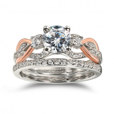 Round Cut White Sapphire 925 Sterling Silver Rose Gold Ring Sets