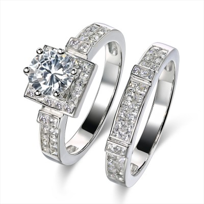 Round Cut 925 Sterling Silver White Sapphire 2-Piece Bridal Sets