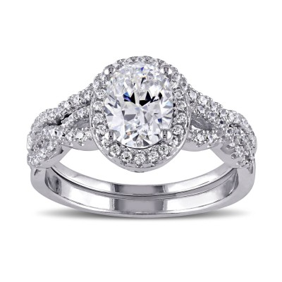 Oval Cut White Sapphire Sterling Silver Halo Bridal Sets
