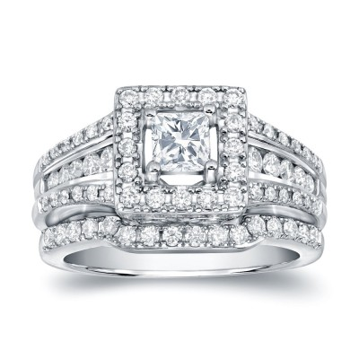 Princess Cut White Sapphire Sterling Silver Halo Bridal Sets
