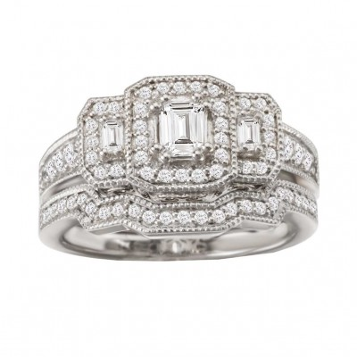 Emerald Cut White Sapphire Sterling Silver Halo 3-Stone Bridal Sets