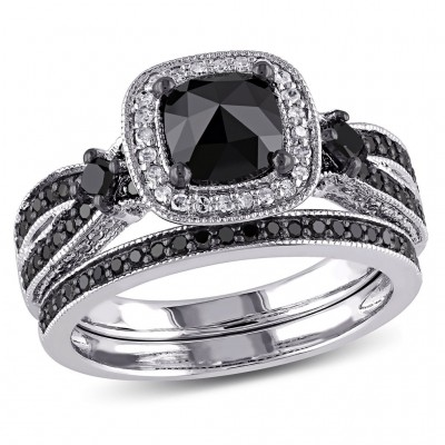 Cushion Cut Black and White Sapphire 925 Sterling Silver Halo Bridal Sets