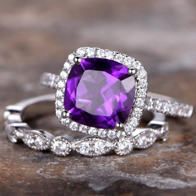 Cushion Cut Amethyst 925 Sterling Silver Halo Bridal Sets
