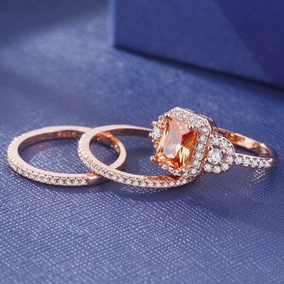 Vintage Design Emerald Cut Rose Gold Halo Wedding Ring Set