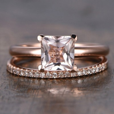 Cushion Cut Classic Rose Gold Bridal Sets