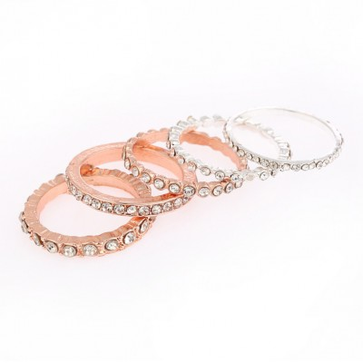 Round Cut Rose Gold & Silver White Sapphire Sets