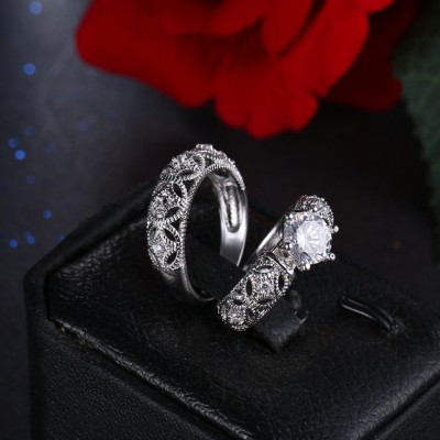 Round Cut Whate Sapphire Unique Bridal Sets