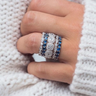 Asscher Cut White Sapphire Halo 925 Sterling Silver Bridal Sets