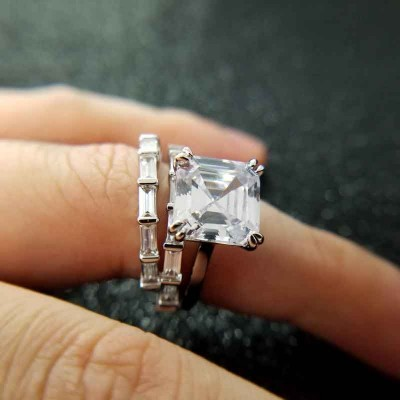 Asscher Cut White Sapphire 925 Sterling Silver 3-Piece Bridal Sets
