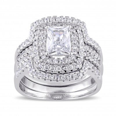 Radiant Cut White Sapphire Sterling Silver Halo 3-Piece Bridal Sets