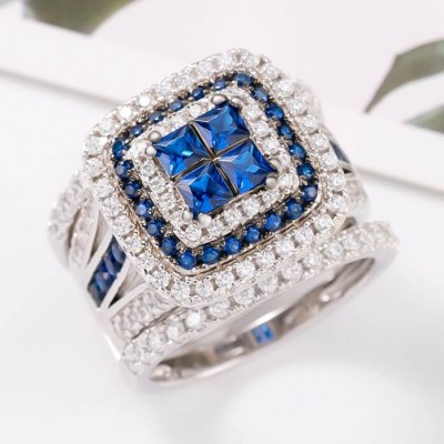 Princess Cut Blue Sapphire 925 Sterling Silver Interchangeable Bridal Sets
