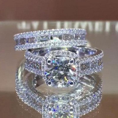 Round Cut White Sapphire 925 Sterling Silver Halo Bridal Sets