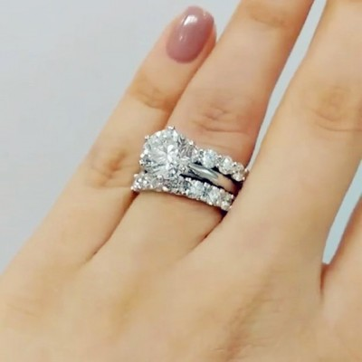 4.35CT Round Cut White Sapphire 925 Sterling Silver 3-Piece Bridal Sets