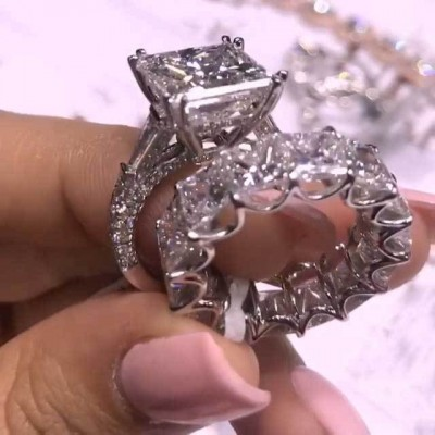 7.3CT Princess Cut White Sapphire 925 Sterling Silver Bridal Sets
