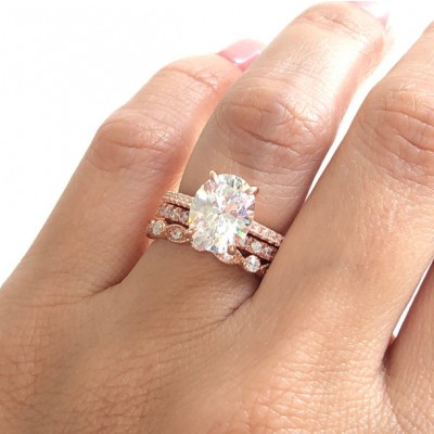 Oval Cut White Sapphire 925 Sterling Silver 3-Piece Rose Gold Bridal Sets