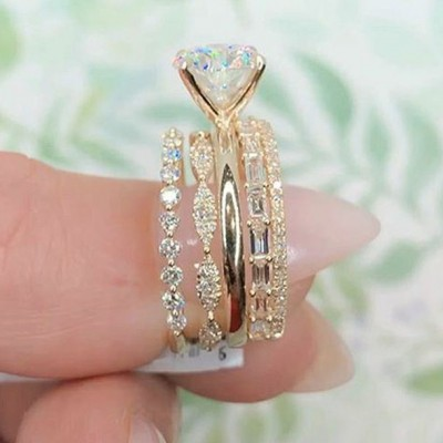 3.25 Carat Round Cut White Sapphire 925 Sterling Silver Gold Bridal Sets