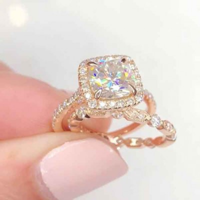 Cushion Cut White Sapphire 925 Sterling Silver Rose Gold Halo Bridal Sets
