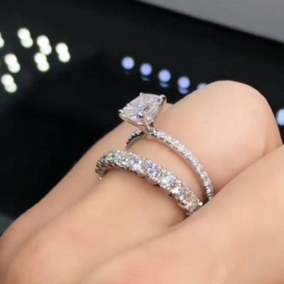 4.2CT Radiant Cut White Sapphire 925 Sterling Silver Bridal Sets