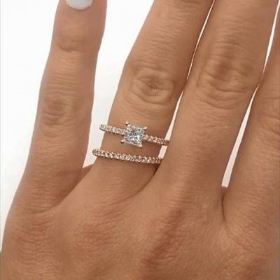 Princess Cut White Sapphire 925 Sterling Silver Rose Gold Bridal Sets