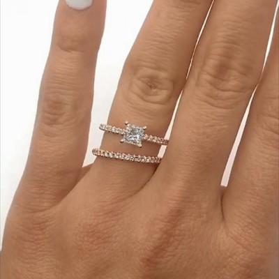 1.81CT Princess Cut White Sapphire 925 Sterling Silver Rose Gold Bridal Sets