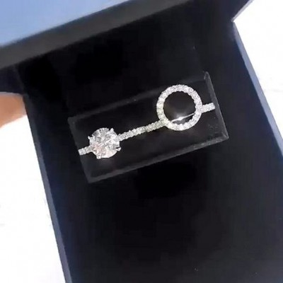 4.6CT Round Cut White Sapphire 925 Sterling Silver Halo Insert Ring Sets