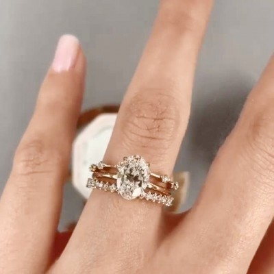 Oval Cut White Sapphire 925 Sterling Silver Gold 3-Piece Bridal Sets