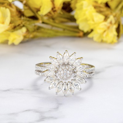 Round Cut White Sapphire 925 Sterling Silver Flora Halo Bridal Sets