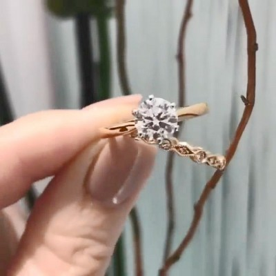 Round Cut White Sapphire 925 Sterling Silver Rose Gold Bridal Sets