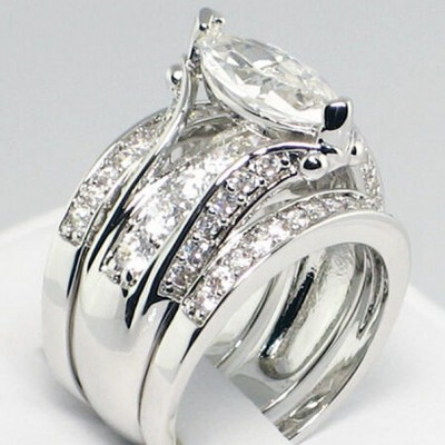 Marquise Cut White Sapphire 925 Sterling Silver 3-piece Bridal Sets