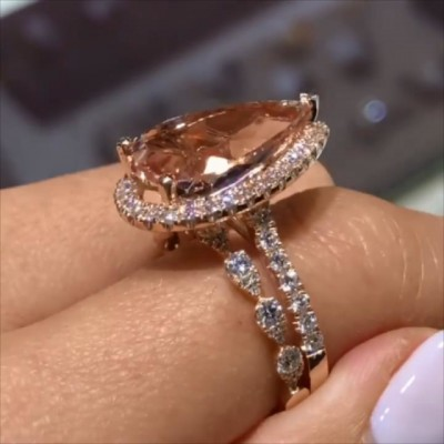 Pear Cut Orange Sapphire 925 Sterling Silver Halo 2-Piece Rose Gold Bridal Sets