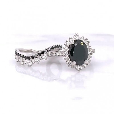 Oval Cut Black Sapphire 925 Sterling Silver Halo Bridal Sets
