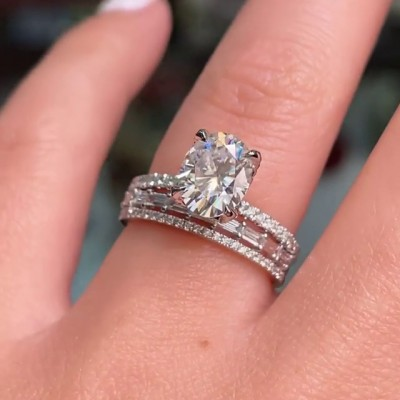 Oval Cut White Sapphire 925 Sterling Silver 3-Piece Classic Bridal Sets
