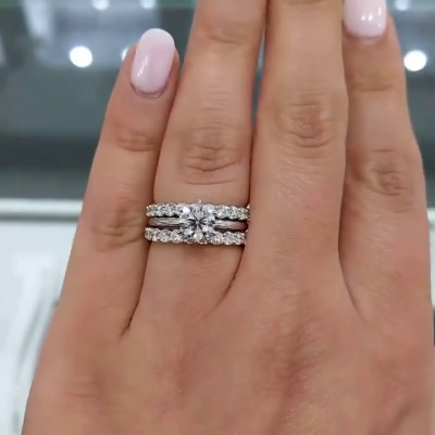Round Cut White Sapphire 925 Sterling Silver 3-Piece Bridal Sets