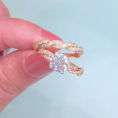 Round Cut White Sapphire Rose Gold 925 Sterling Silver Infinity Bridal Sets