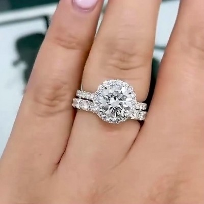 4.6CT Round Cut White Sapphire 925 Sterling Silver Halo Bridal Sets