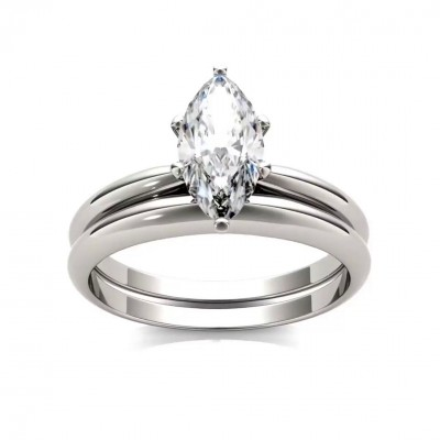 Marquise Cut White Sapphire 925 Sterling Silver Solitaire Bridal Sets