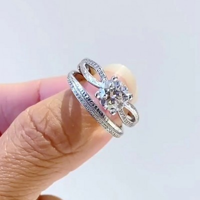 Round Cut White Sapphire 925 Sterling Silver 2-Piece Bridal Sets