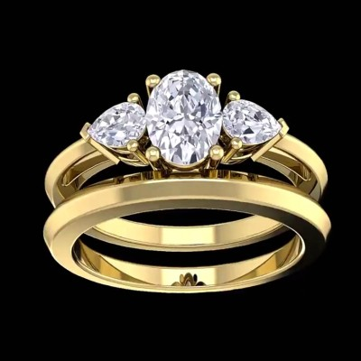 Oval Cut White Sapphire 925 Sterling Silver Gold 3-Stone Bridal Sets