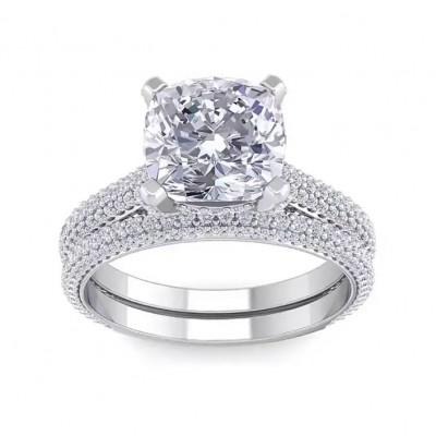 Cushion Cut White Sapphire 925 Sterling Silver 2-Piece Bridal Sets