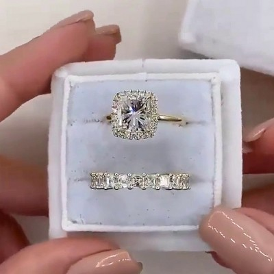 Cushion Cut White Sapphire 925 Sterling Silver Gold Halo Bridal Sets